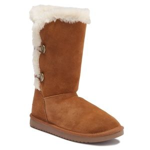 Kinslei Tall Boot Suede upper round toe two button